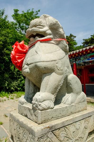 The left guard lion